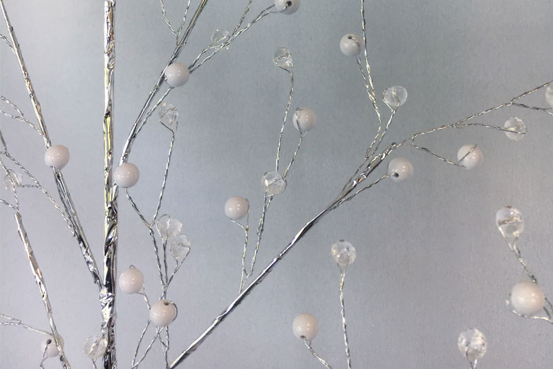 Lot de 2 branchages argentés perles blanches